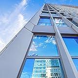 Homein Película Ventana Plata Protector Solar Lámina Privacidad de Una Manera Espejo Vinilo Adhesiva de Gran Reflexión Anti 99% UV Mejor Control de Calor Fácil Instalar Oficina Salón 44.5*200cm