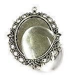5 große ovale antiksilberne Fassungen und 61 x 48mm Glasstein Klebeperle Cabochon DIY