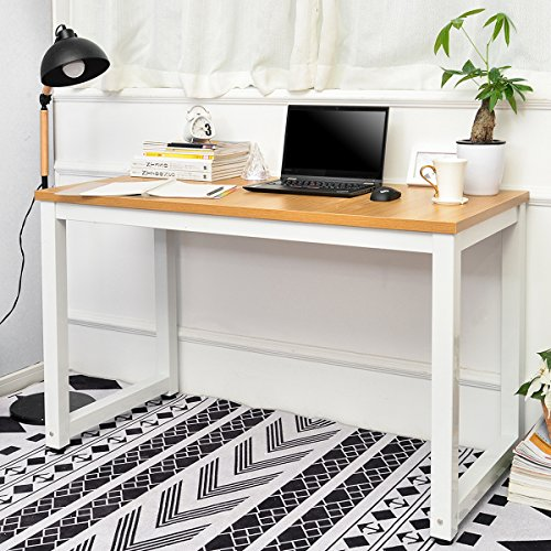 LIFE CARVER Modern Simple Design Computer Desk Table Workstation Small Space Place Home Office Writing Table, (oak)