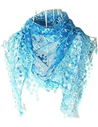 hugestore Mujer Elegante Encaje Borla mezcla de seda larga bufanda bufandas Wrap chal Triangular Bufanda azul azul