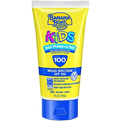Banana Boat Sunscreen Kids MAX Protect & Play Broad Spectrum Sun Care Sunscreen Lotion - SPF 100, 4 Ounce by Banana Boat