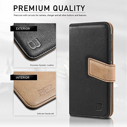 iPhone 6s Hülle, Handyhülle iPhone 6, BEZ® Handytasche Schutzhülle Handyhülle Tasche Flip Case mit Kreditkartenhaltern, Standfunktion für Apple iPhone 6 6S (4,7 Zoll) - Blau Marine Schwarz