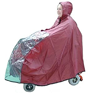 Kozee Komforts Waterproof Mobility Scooter Cape with See Through Panel, Weatherproof Universal Fit Poncho for Small/Boot 3 and 4 Wheel Scooters, Covers Scooter and Rider