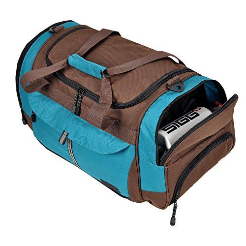Sporttasche ADVENTURE Fitness Tasche, Sport Gym Tasche Reisetasche, 40 Liter Braun Türkis