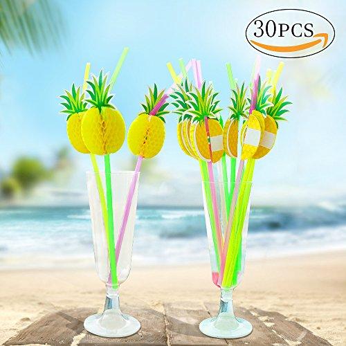 MMTX Pack de 30 pajitas de cóctel de piña novedad para hawaiano, luau, tiki, barbacoa, piscina, cumpleaños, suministros de banquete de boda Diversión bebidas de panal de frutas decoración (piña)