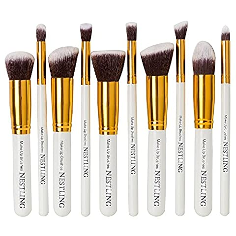 Nestling® 10pcs Makeup Kit Brush Set, Fondation Professional Blending Fard à joues, fard à paupières Blush Teint Poudre Eyeliner Lip Concealer Brushes, Cosmetic Beauty Kit Maquillage Brush (or Tube + blanc poignée)