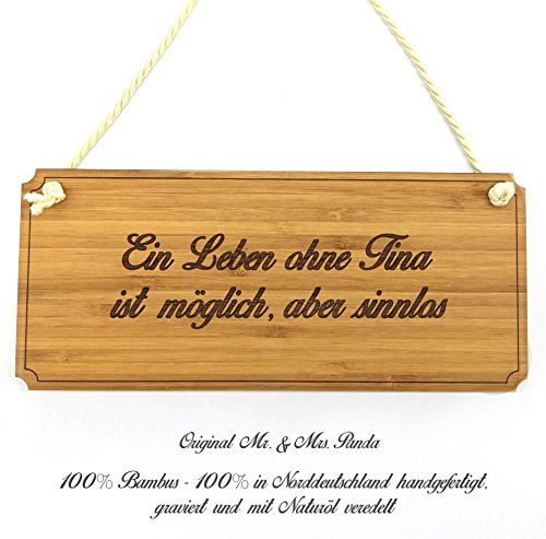 Mr. & Mrs. Panda Türschild Tina Classic Schild - 100% handgefertigt aus Bambus Holz - Anhänger, Geschenk, Vorname, Name, Initialien, Graviert, Gravur, Schlüsselbund, handmade, exklusiv