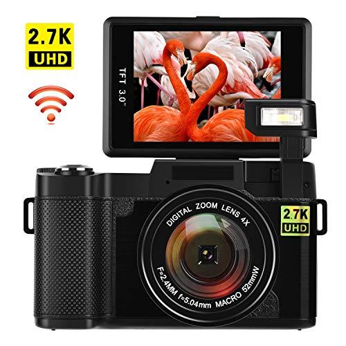 Digitalkamera mit WiFi Videokamera 24,0 MP Blogging Kamera 2,7K Ultra HD 3,0 Zoll Camcorder HD mit Flip Screen einziehbare Taschenlampe Digital Kamera 2.7