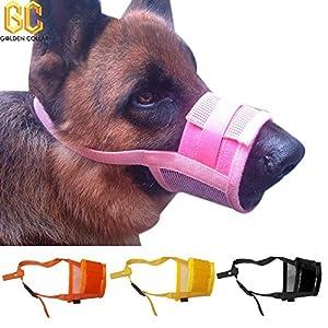 vyset £ ¨ TM) sans les aboiements en maille filet en nylon Muselière pour chien anti Bite Pet Masque réglable 4tailles 4couleurs