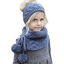 L-Peach Cappello e Cappello Autunno e Inverno per Bambino Sciarpa a Maglia  Cappello Ragazza 102f57039454