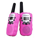 FLOUREON Niños Walkie Talkies 8 Canales con Rango de Larga Distancia, Pantalla LCD (Rosa)