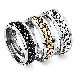 D M Jewelry Anillo de Acero...