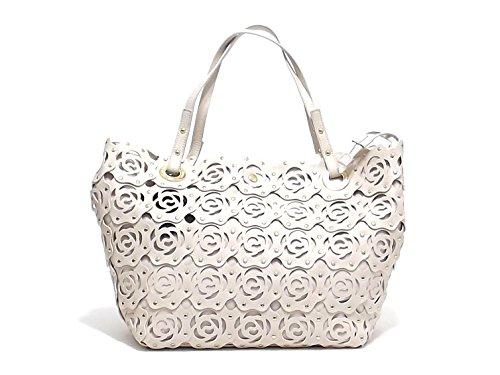 Twin Set borsa donna, linea Borsa Rose AS67HA, borsa a spalla in ecopelle traforata, colore bianco
