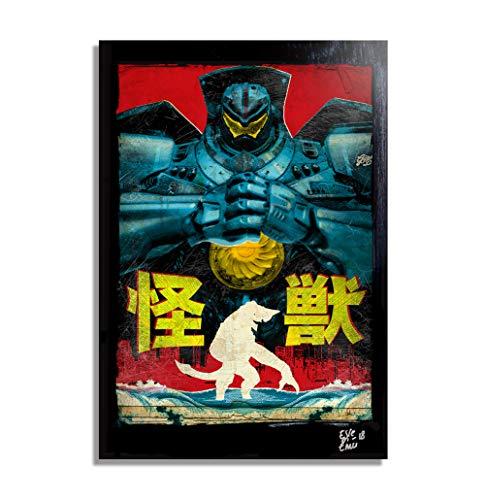 Gipsy Danger aus film Pacific Rim - Original Gerahmt Fine Art Malerei, Pop-Art, Poster, Leinwand, Artwork, Film Plakat, Leinwanddruck, Mecha, Kaiju, Jaeger (Original Filme Godzilla)