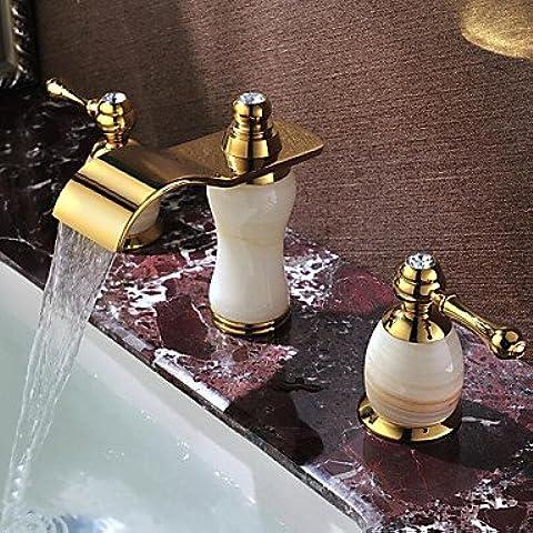 Hanmei ti-pvd Golden cascata per lavabo nave doppio manico bagno rubinetto miscelatore lavabo faucetcopper lavabo rubinetto