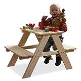 Kindertischgruppe Kindersitzgruppe Spielgruppe TOMMY | Fichtenholz Massiv | 2 Sitzbänke mit Tisch