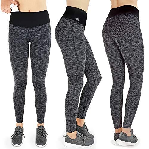 Formbelt [Damen Leggings schwarz-grau S] Laufhose Sport Tights mit Tasche lang - Leggins Stretch-Hose Hüfttasche für Smartphone iPhone Handy Schlüssel (schwarz-grau, S)