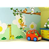 Ascent Decals Cute Jungle Animals Playing Wall Sticker For Kids Room (Vinyl , 60 Cm X 90 Cm)