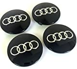 Set of Four Alloy Wheels Centre Hub Caps BLACK COVER Badge 68mm 8D0 601 170 fits AUDI A3 A4 A5