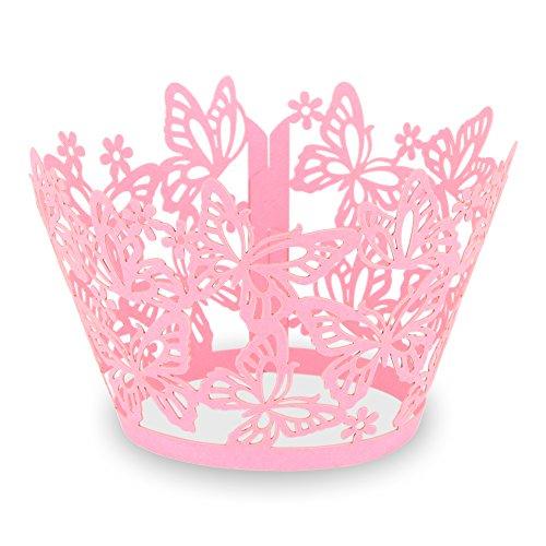 """Elfenstall Cupcake / Muffin Papierförmchen - Zierumrandung - Dekorand \"""" Schmetterlinge / Butterfly \"""" 12 Stück für Hochzeiten Partys oder Feste (pink)"""