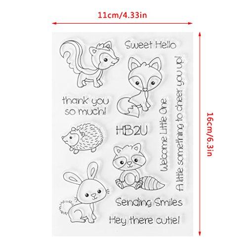 ECMQS Cute Animals DIY Transparente Briefmarke, Silikon Stempel Set, Clear Stamps, Schneiden Schablonen, Bastelei Scrapbooking-Werkzeug