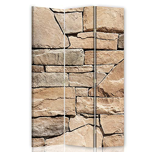 Feeby Pared Española Abstracto 3 Paneles Bilateral Muro Piedras Beige