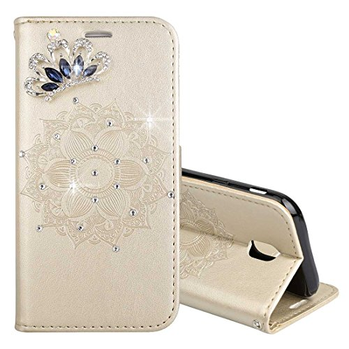 Wkae Pour Samsung Galaxy J5 (2017) (version de l'UE) Mandragora motif diamant incrusté horizontal étui en cuir flip avec porte-monnaie titulaire de la carte portefeuille et lanière