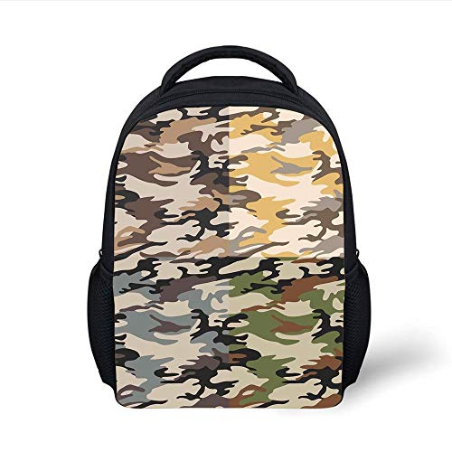 Kids School Backpack Camo,Camouflage Patterns in Four Going Undercover Militaristic Combination,Multicolor Plain Bookbag Travel Daypack (Camo Rucksack Dc)