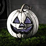 Lights4fun Halloween LED Kürbis weiß Batteriebetrieb 20cm