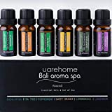 UAREHOME Therapeutic Grade Aromatherapy Essential Oils Set, 100 Percent Pure, 6 Pack, 10ml