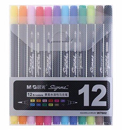 Waschbar Marker Dual Spitze Tinte Textmarker Pinsel + feine Spitze 12/18/24Stück 12 Pack