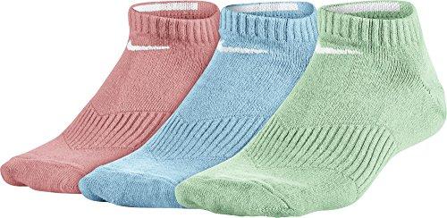 Nike Kinder Y NK Performance Lightweight Cushion NO-SHOW3PR Sportsocken für Ältere 3 Paar, Mehrfarbig/Blass Rosa/Blass Blau/Blassgrün/Weiß, S (Nike-jungen Rosa Socken)