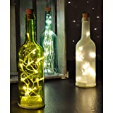 XL Weihnachtliche LED-Glas-Flasche Grün Tannenbaum warm weiß Dekoration 20 LEDs batteriebetrieben Höhe 30cm