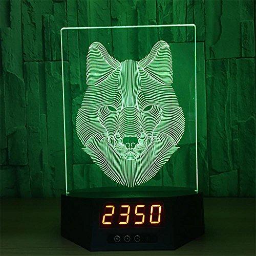 ernbedienung Acryl Schreibtischlampe 7 Farbe Veränderung LED Anzeige Zeit Und Kalender Wolf (Die Unglaublichen Baby Jack)