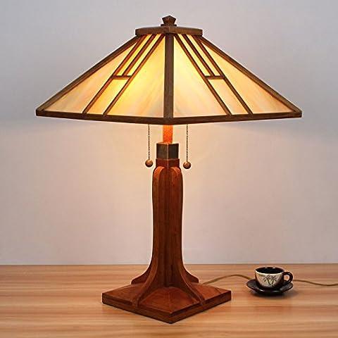 Lampe Tiffany - 18 pouces en bois double fermeture à