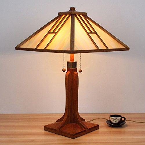 HDO 18 Zoll hölzerner doppelter Reißverschluss Tiffany Art-Tabellen-Lampe Nachttischlampe Schreibtisch-Lampe Wohnzimmer-Stab-Lampe -