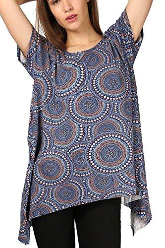 Damen Saum Hi Low Aufdruck Party Flügelärmel Ärmel Ausgestellt Freizeit Tauch Geblümt Paisley Taschentuch Top Blau Aztec
