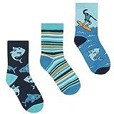 Generic Jungen 3 Packung Baumwollreich Neuheit Hai Design Socken