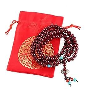 Bracelet - Collier Mala Bouddhiste - 108 Perles en Bois de Jujubier - Pochette en Satin Offerte