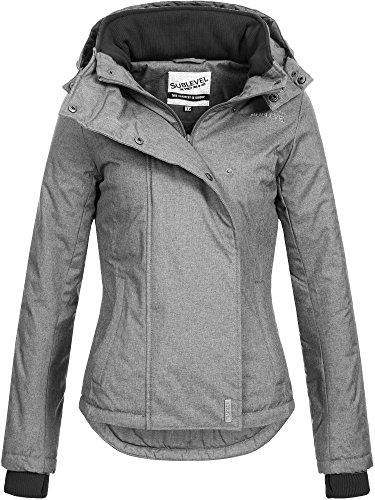 SUBLEVEL Damen Zipper Jacke mit Kapuze Steppjacke Stepp Winterjacke Jacke Damenjacke XS S M L XL Dark Grey