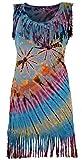 Guru-Shop Batik Minikleid, Boho Fransenkleid, Damen, Hellblau, Synthetisch, Size:38, Kurze Kleider Alternative Bekleidung