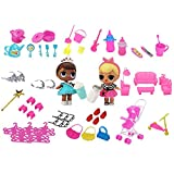 asiproper 98pcs Miniature Pretend Set Toys for Barbie Dolls Gifts Kids Living Room