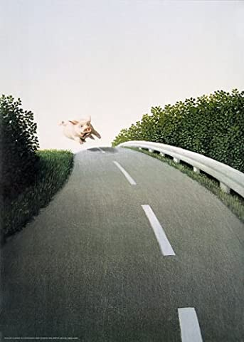 Autobahn Pig Michael Sowa Funny Animals Print Poster 19.5x27.5 by Picture Peddler