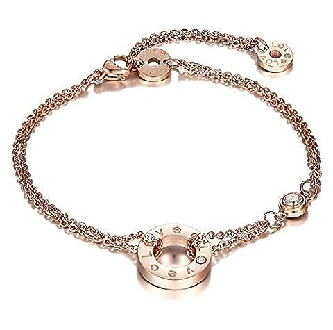 findout Damen 14K Rotgold Titan Stahl Zirkonia Inlay doppelte Liebe Armband / Fußkettchen überzogen , für Frauen, Mädchen, (f1091) (Armband)