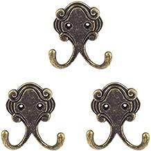 Vintage Style-Appendiabiti da parete a 2 ganci appendiabiti, 3 pezzi