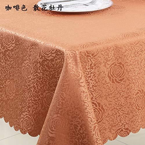 BATSDCB Volltonfarbe Pfingstrose Blume Tischdecken, Rechteckige Runde Lässige tischwäsche-braun...
