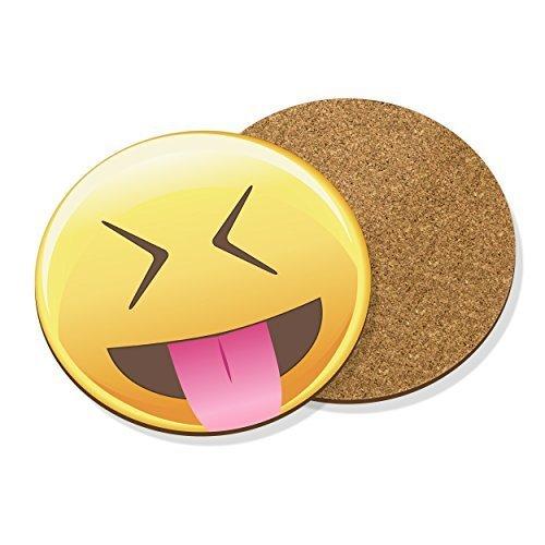 Felpudos divertidos Emoji Lengua Out cerrado orificios Bebidas Posavasos Felpudo CORCHO REDONDO - Divertido Cara Sonriente
