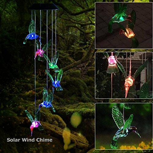 Solar Windspiel Kolibri Wind Chimes Color-Changing Led Solar Chimes Mobile FüR Home Garten Yard Weihnachten Halloween Geschenk Dekoration