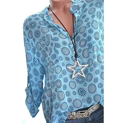 ❤️ Camisas Mujer,Modaworld Camiseta Estampada de Manga Larga con Cuello en V para Mujer Tallas Grandes Camisetas y Tops Camisa de Vestir Blusas Elegantes señoras