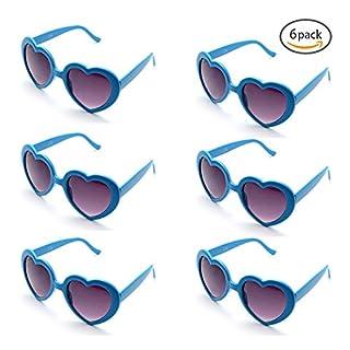 Onnea 6 Neon Colors Heart Shape Party Favors Sunglasses, Multi Packs (6-pack Blue)